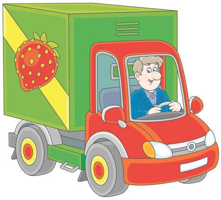 Truck driver delivering goods