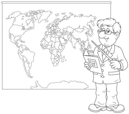Geography teacher at lesson vector illustration