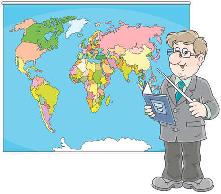 Geography teacher at lesson near a world map Vector illustration. Stock Illustratie