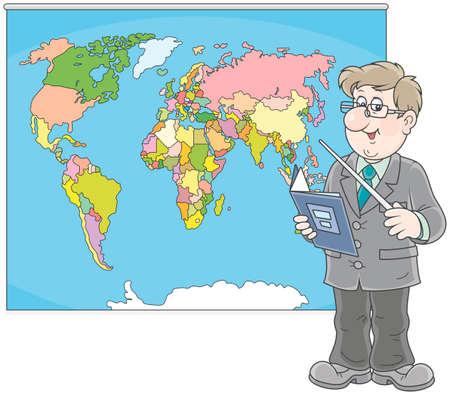 Nauczyciel geografii na lekcji w pobliżu mapy świata Ilustracja wektorowa. Ilustracje wektorowe