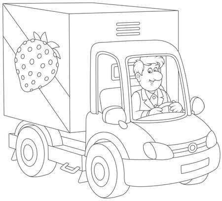 Truck driver delivering goods Vector illustration. Illustration