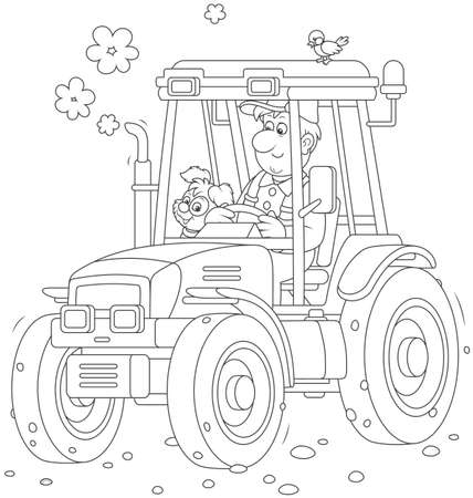 Smiling worker driving his wheeled tractor Иллюстрация