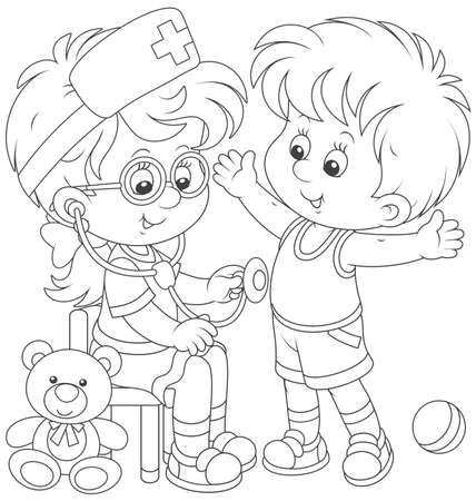 Kids playing doctor and patient Vector illustration.