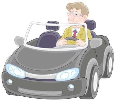 Smiling man driving his sport car