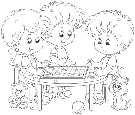 Little children playing checkers