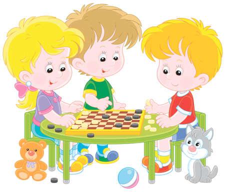 Little children playing checkers 矢量图像
