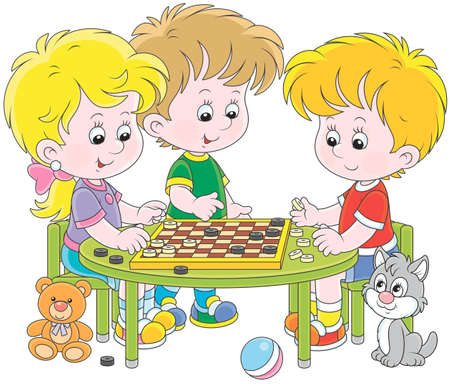 Little children playing checkers Illustration