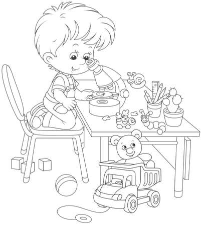 Boy with a microscope, in outline Illustration.