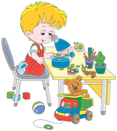 Boy with a microscope and other colorful stuff Illustration