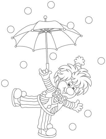 Circus clown with an umbrella Illustration