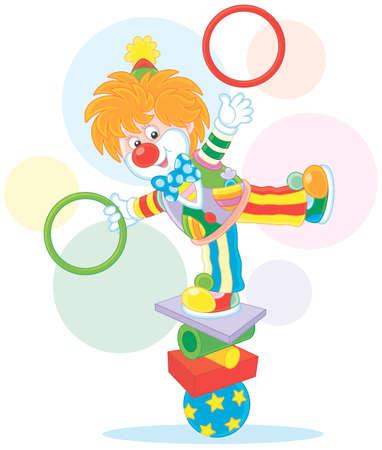 Clown juggler and equilibrist Illustration