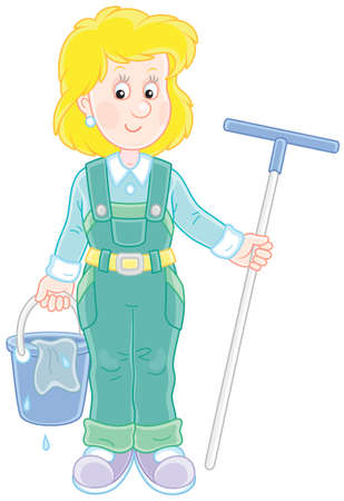 Smiling girl cleaner holding a swab and a bucket illustration.