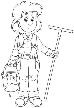 Smiling girl cleaner holding a swab and a bucket