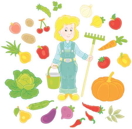 Gardener with fruit and vegetables Vector illustration. Illustration