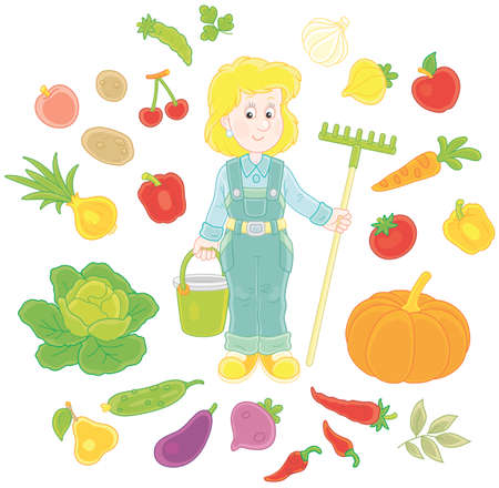 Gardener with fruit and vegetables Vector illustration.
