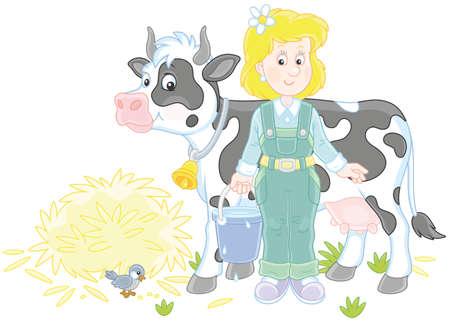 Lechera y vaca Ilustración de vector