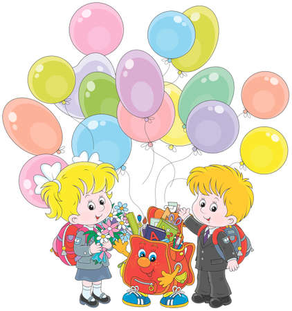 Schoolchildren with balloons and a funny Schoolbag