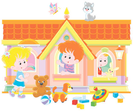 Kids playing in a toy house background.
