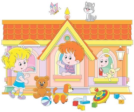 Children playing in a toy house Illustration