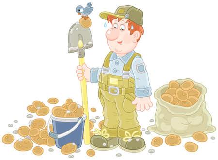 Farmer with his potato crop Vetores
