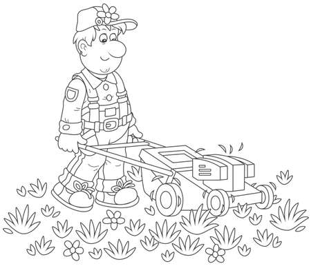 Smiling man mowing grass on his lawn 일러스트