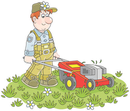 Lawn-mower at work