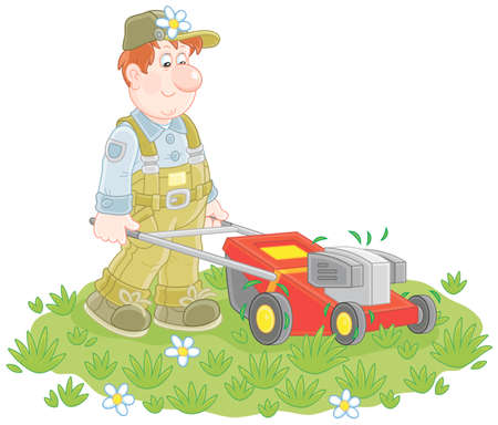 Friendly smiling man mowing grass on his lawn
