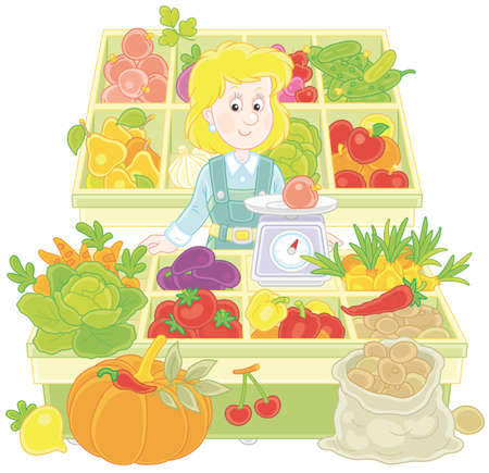 Greengrocer behind a counter in a market Stock Illustratie