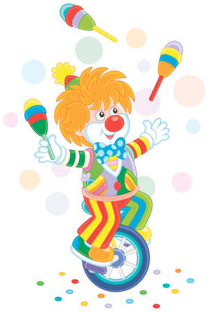 Clown juggling with skittles and riding a unicycle