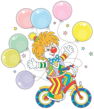 Ginger circus clown riding his bicycle with balloons