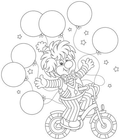 Funny circus clown riding his bicycle with balloons.