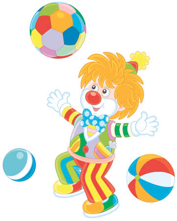Funny circus clown playing with colorful balls Vector illustration.