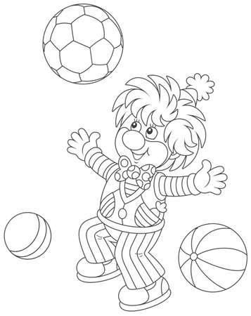 Funny circus clown playing with balls Vector illustration.