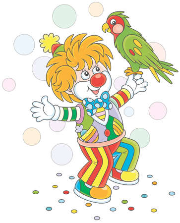 Funny clown playing with a colorful parrot Vector illustration. Illustration