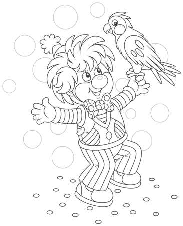 Funny circus clown playing with his parrot Vector illustration.