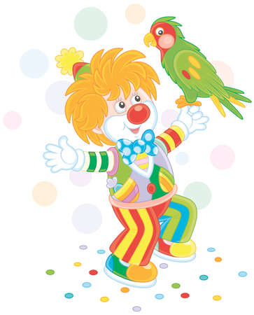 Funny clown playing with a colorful parrot vector illustration.