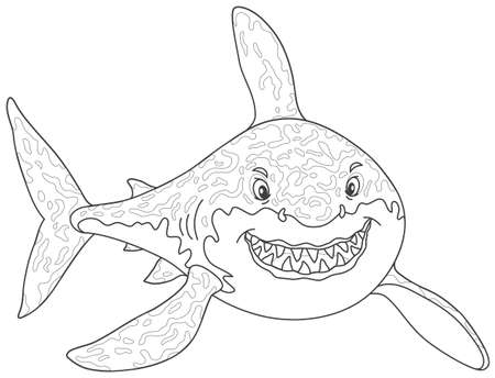 Friendly smiling great white shark attacking vector illustration.
