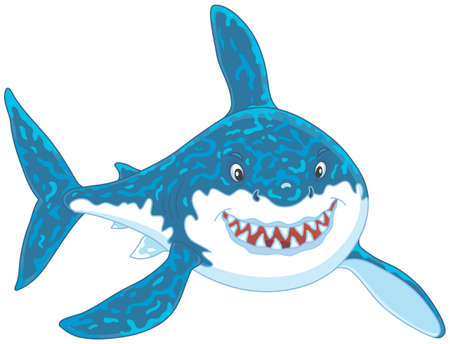 Friendly smiling great white shark attacking Vector illustration. Illustration