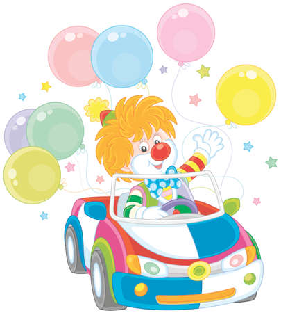 Funny clown driving his car with colorful balloons.
