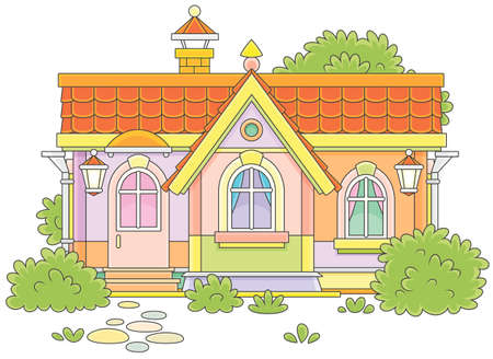 Colorful country house with bushes illustration.