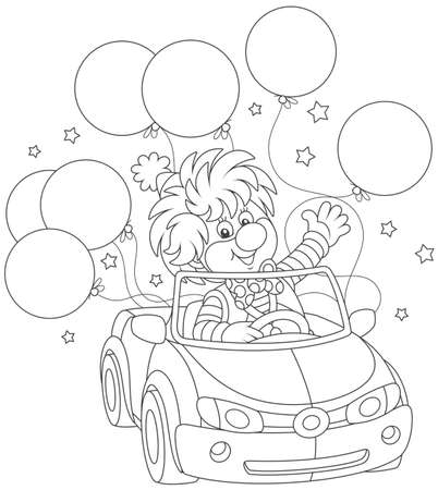 Funny circus clown driving his car with balloons.