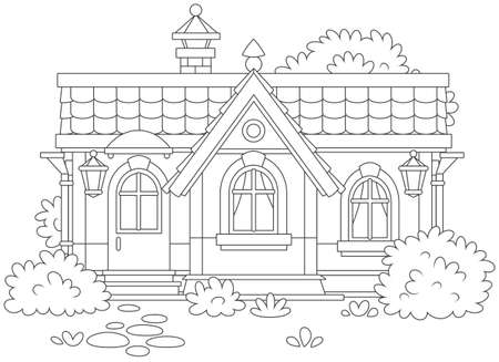 Country house with bushes