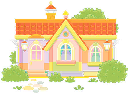 Colorful country house with bushes
