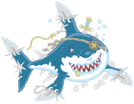 Great White Shark Pirate with fins sabers attacking Illustration