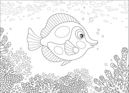 Black and white vector illustration of an exotic butterfly fish swimming over a corals on a reef in a tropical sea