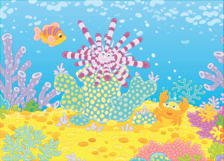 Striped long-spine sea urchin, a funny small crab and a colorful fish among corals on a reef in a tropical sea, vector illustration in a cartoon style Illustration
