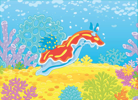 Funny sea monster mollusc swimming among colorful corals on a reef in a tropical sea, vector illustration in a cartoon style Illustration