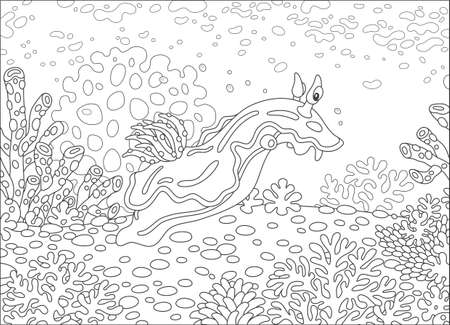 Funny sea monster mollusc swimming among corals on a reef in a tropical sea, black and white vector illustration in a cartoon style for a coloring book