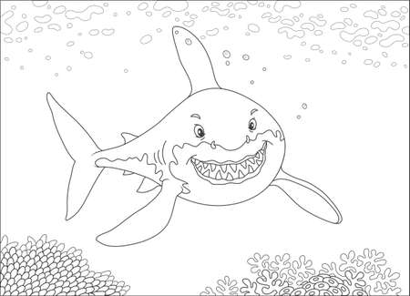 Great white shark swimming over a coral reef in a tropical sea, black and white vector illustration in a cartoon style for a coloring book Ilustração