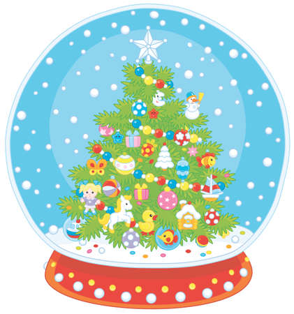Crystal ball with a decorated Christmas tree and falling snow inside, vector illustration in a cartoon style Vettoriali